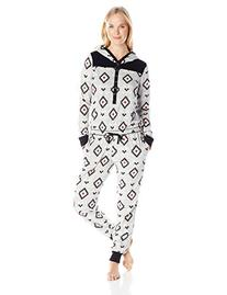 Kensie Women's Microfleece Onesie, Heather Grey Geo, Large