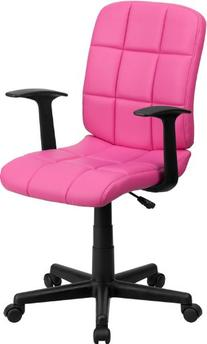 Mid-Back Pink Quilted Vinyl Swivel Task Chair with Nylon