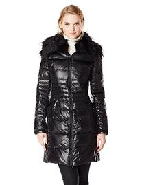 Vince Camuto Women's Mid-Length Down Coat with Faux Fur