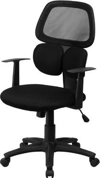 Mid-Back Black Mesh Swivel Task Chair with Flexible Dual Lumbar Support