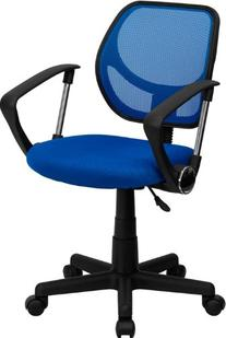 Mid-Back Blue Mesh Task Chair and Computer Chair with Arms