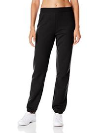 Hanes Women's Mid Rise Cinch Bottom Fleece Sweatpant, Ebony