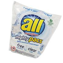 All Mighty Pacs, Free Clear Laundry Detergent, 72 Count