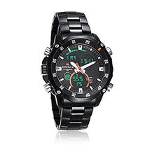 Fanmis Mens Military LED Black Stainless Steel Blackdial
