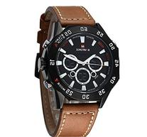 Fanmis Mens Military Sports Brown Leather Black Dial Quartz