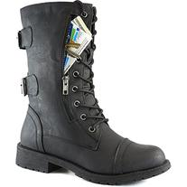 Women's Military Up Buckle Combat Boots Mid Knee High