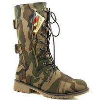 Women's Military Lace Up Buckle Combat Boots Mid Knee High