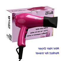 BERTA 1000 Watts Mini Hair Dryer Ceramic Ionic Travel Blow