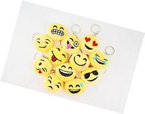 "Set of 12 ~ 1.5"" 1.5 inch Mini Round Emoji Face Keychain Key"