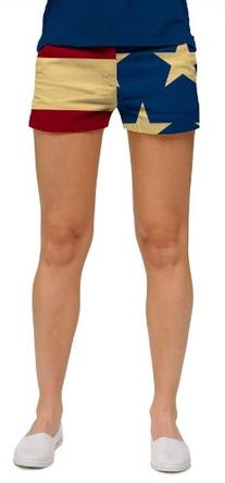 Loudmouth Golf Womens Mini Shorts: Old Glory - Size 0