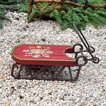 Miniature Fairy Garden Snowflake Sled
