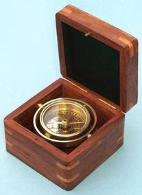 Miniature Gimbaled Boxed Nautical Brass Compass