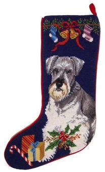 Miniature Schnauzer Dog Needlepoint Christmas Stocking
