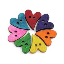Souarts Mixed Heart Shape 2 Holes Wood Wooden Buttons