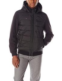 Tommy Hilfiger Men's Mixed-Media Puffer Jacket,Large,Black