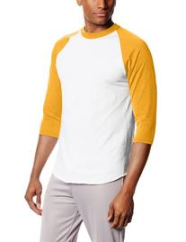 Soffe MJ Men's 3/4 Sleeve Baseball Jersey, Large, Gold