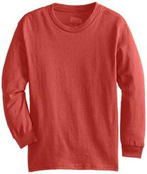 MJ  Big Boys' Youth Pro Weight Long-Sleeve T-Shirt, Red,