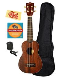 Kala MK-S Makala Soprano Ukulele Bundle with Gig Bag, Clip-