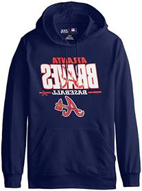 MLB Atlanta Braves Men's SA2 Fleece Hoodie, Navy, Small