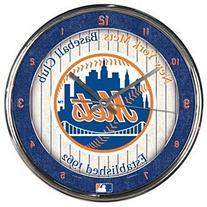 "MLB New York Mets Chrome Clock, 12"" x 12"