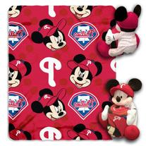 MLB Philadelphia Phillies Mickey Mouse Pillow with Fleece