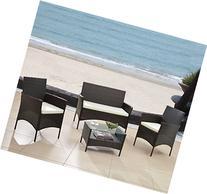 Modern Outdoor Garden, Patio 4 Piece Seat - Gray, Black
