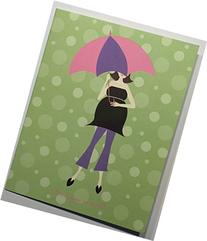 Mom with Parasol Baby Shower Thank You Notes