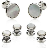 Cuff-Daddy Silver Tone and Mother of Pearl Cuff Links and