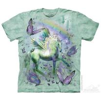 The Mountain Light Green 100% Cotton Unicorn & Butterflies T