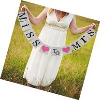 Miss to Mrs Banner bunting sign for Bridal shower Party