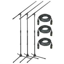 3 Pack of the MS7701B Tripod Microphone Boom Stand from On