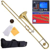 Mendini by Cecilio Bb Tenor Slide Trombone, Gold with 1 Year