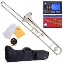 Mendini MTB-N Nickel Plated B Flat Tenor Slide Trombone with