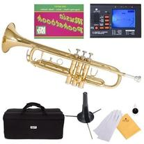 Mendini MTT-L Gold Lacquer Brass Bb Trumpet + Tuner, Case,