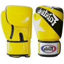 Fairtex Muay Thai Style Sparring Gloves, Yellow/Black, 14-