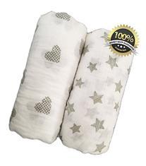 Seben Baby Muslin Swaddle Blankets 2 Pack - 100% Cotton - 47