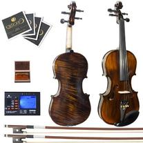 3/4 MV500 Flamed 1-Piece Back Solid Wood Violin with Case,