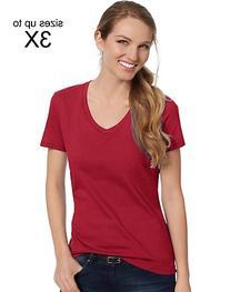 Hanes Women's Nano-T V-Neck T-Shirt Vintage Red S