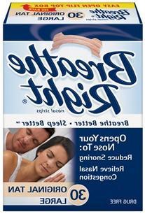 Breathe Right Nasal Strips, Large, Tan, 30 ea