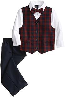 Nautica Little Boys' Mini Tartan Vest Set, Navy, 6