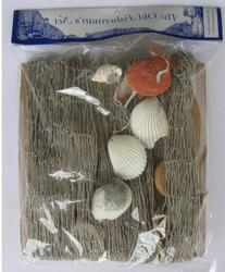 Nautical Decorative Fish Net Pack with Shells and Cork