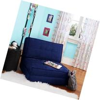 Navy Blue Flip Out Folding Sleeper Chair Pull Down Sofa Bed