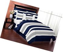 Navy Blue, Gray and White Stripe 4 Piece Childrens, Teen