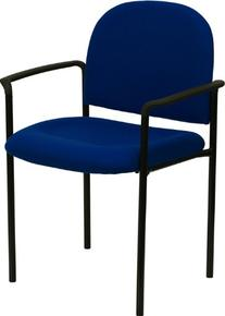 Navy Fabric Comfortable Stackable Steel Side Chair w/Arms