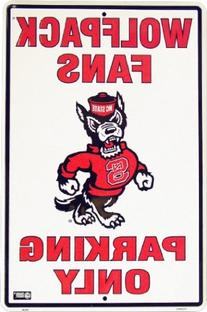 NC STATE WOLFPACK Metal Parking Sign 12 x 18 embossed