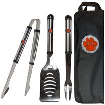 NCAA Clemson Tigers Stainless Steel BBQ Tool Set with Bag