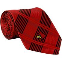 NCAA Louisville Cardinals Poly Plaid Woven Tie - Red/Black