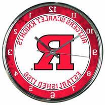 "NCAA Rutgers Scarlet Knights Chrome Clock, 12"" x 12"