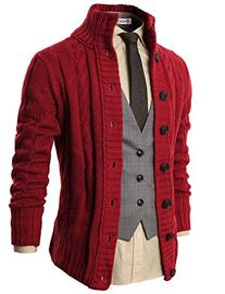 H2H Mens High Neck Twisted Knit Cardigan Sweater With Button