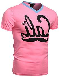 Neon Color Contrast Cali Moustache Printed Short Sleeve Tops